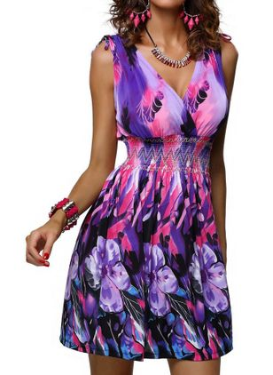 Casual Floral V-Neckline Above Knee X-line Dress (1535481)