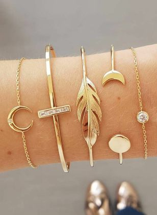 Casual Round No Stone Bangle Bracelets (1525865)