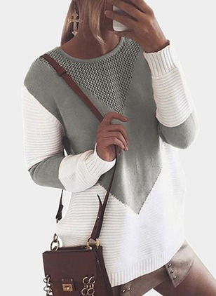 Round Neckline Color Block Loose Shift Sweaters (1224326)