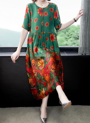Casual Floral Tunic Round Neckline Shift Dress (100546599)