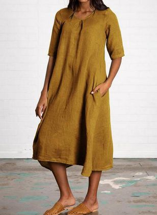 Casual Solid Tunic Round Neckline A-line Dress (4663405)