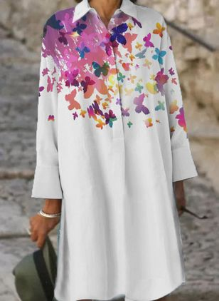 Casual Floral Long Sleeve Knee-Length Dress (106703482)