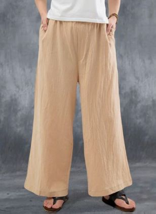 Casual Loose Pockets High Waist Linen Pants (147221204)