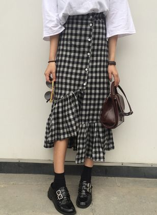 Check Mid-Calf Casual Buttons Skirts