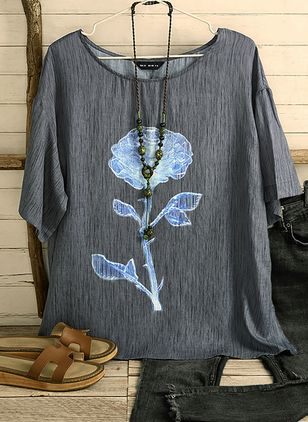 Floral Round Neck Half Sleeve Casual T-shirts (4088991)