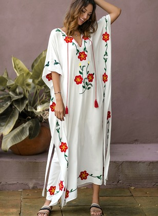 Floral Wrap Half Sleeve Maxi A-line Dress