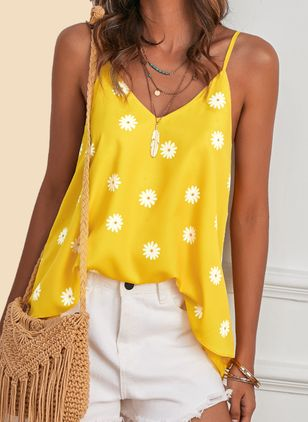 Floral Camisole Neckline Sleeveless Casual T-shirts (4037215)