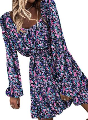 Casual Floral Skater V-Neckline X-line Dress (147059424)