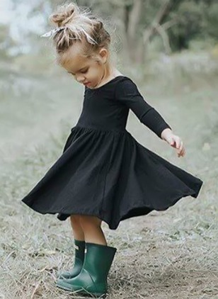 Girls' Basic Solid Holiday Long Sleeve Dresses