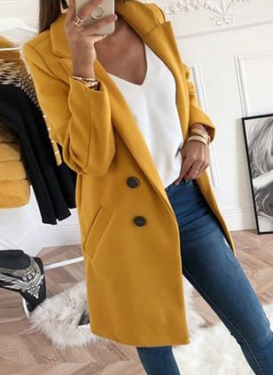 Long Sleeve Lapel Pockets Coats (146892974)