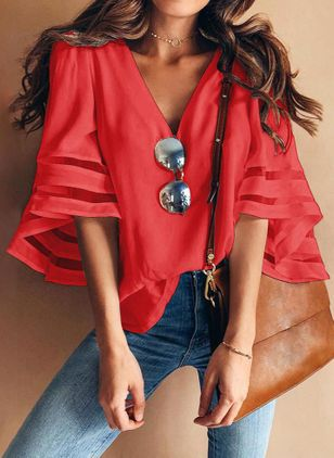 Solid Casual V-Neckline Half Sleeve Blouses (1516219)