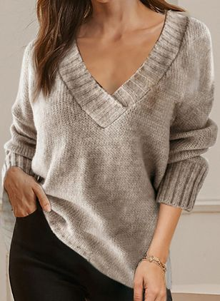 V-Neckline Solid Casual Loose Regular Shift Sweaters (111852966)