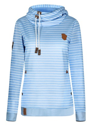Stripe Casual Cotton Hooded Appliques Sweatshirts