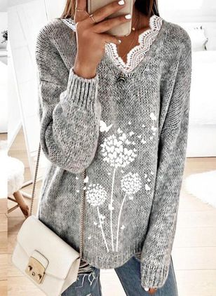 V-Neckline Floral Casual Loose Regular Lace Sweaters (146740224)