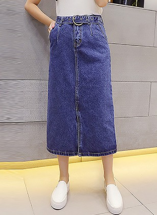 Denim Solid Mid-Calf Casual Blue Skirts
