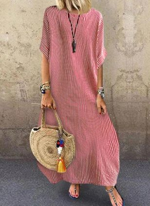 Casual Stripe Tunic Round Neckline A-line Dress (100001959)