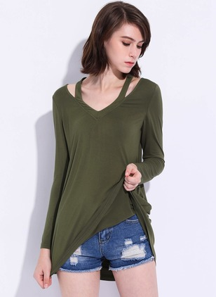 Polyester Solid V-Neckline Long Sleeve Casual T-shirts