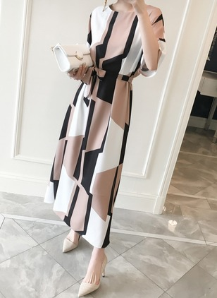Color Block Wrap Half Sleeve Maxi A-line Dress