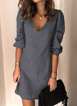 Casual Solid Tunic V-Neckline Shift Dress (100132689)