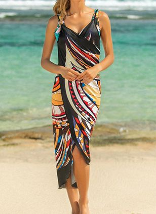 Polyester Pattern Cover-Ups Swimwear (1539970)