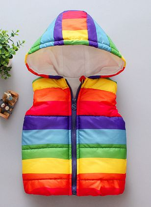 Girls' Sweet Color Block Hooded Coats