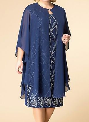 Plus Size Tunic Floral Round Neckline Elegant Wrap Plus Dress (1286804)