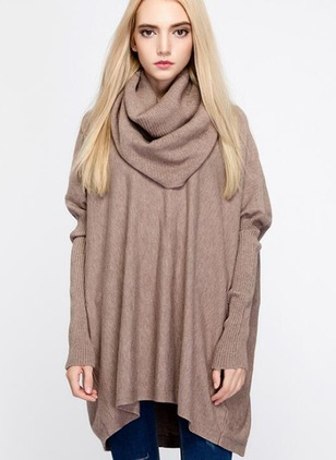 Viscose Draped Neckline Solid Loose None Sweaters