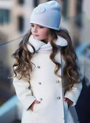 Girls' Cute Solid Collar Coats