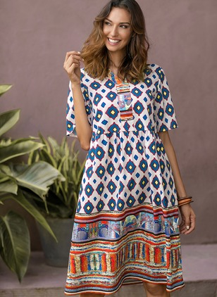 Geometric Tshirt Short Sleeve Knee-Length A-line Dress