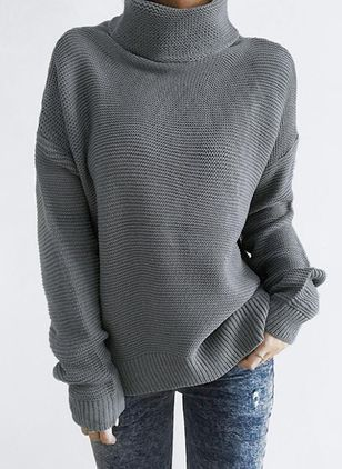 High Neckline Solid Oversized Regular None Sweaters