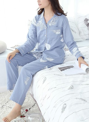 Cotton Collar Floral Pockets Pajamas
