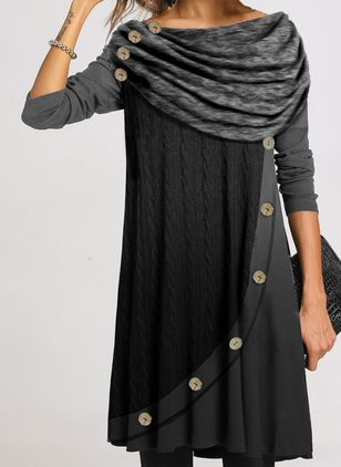 Casual Color Block Tunic Round Neckline A-line Dress (146677687)