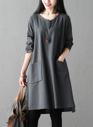 Cotton Blends Solid Long Sleeve Above Knee Casual Dresses  ...