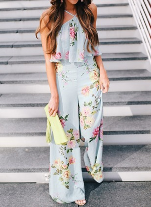 Polyester Floral Sleeveless Casual Jumpsuits & Rompers