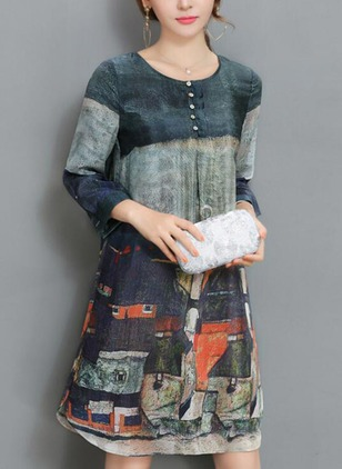 Chinese Style Geometric Appliques Tunic Shift Dress (1159407)