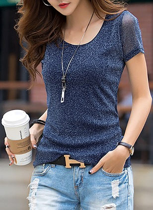 Cotton Solid Round Neck Short Sleeve Casual T-shirts