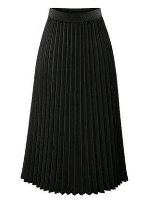 Solid Mid-Calf Elegant Skirts (6211472)