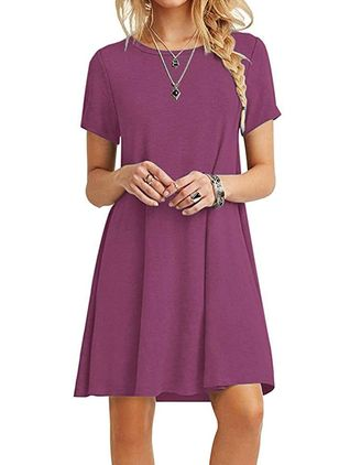 Casual Solid Tunic Round Neckline Shift Dress (4046535)