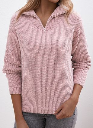 V-Neckline Solid Casual Loose Regular Zipper Sweaters (5501904)