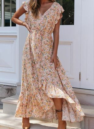 Casual Floral V-Neckline Maxi X-line Dress (4043692)