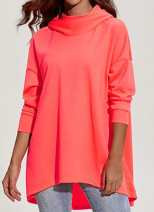 Solid Casual Draped Neckline Long Sleeve Blouses (1256501)