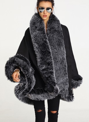 Faux Fur Long Sleeve Other Capes