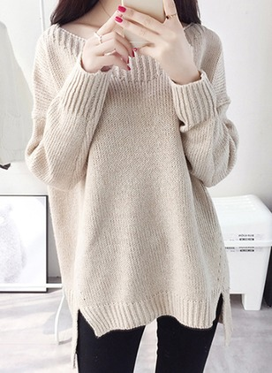 Wool Boat Neckline Solid Loose None Sweaters