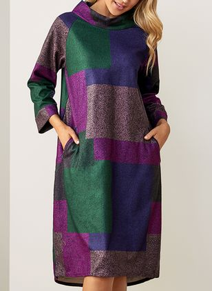 Casual Color Block Pockets Round Neckline A-line Dress (1422913)