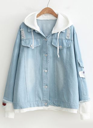Long Sleeve Hooded Buttons Pockets Denim Jackets