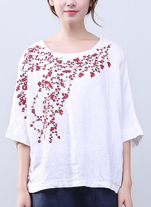 Floral Casual Cotton Linen Round Neckline 3/4 Sleeves Blouses