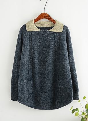 Cotton Round Neckline Solid Loose Pockets Sweaters