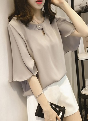 Solid Cotton Round Neckline 3/4 Sleeves Blouses