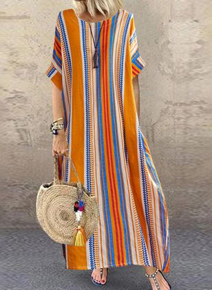 Plus Size Casual Stripe Tunic Round Neckline Shift Dress (4541342)