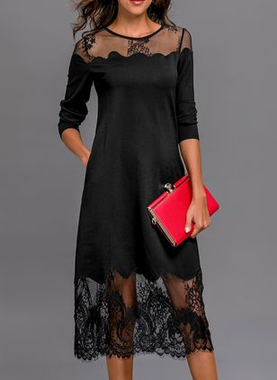 Solid 3/4 Sleeves Midi Shift Dress